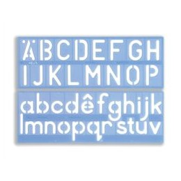 Stencil Set of Letters Numbers and /p Symbols 50mm Upper And Lower Case 4-PIECE