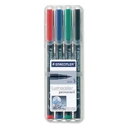 Staedtler 313 Lumocolor Pen Permanent Superfine Assorted [Wallet of 4]