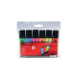 Highlighters Chisel Tip 1-5mm Line Assorted [Wallet 6]