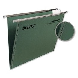 Leitz Ultimate Suspension File Recycled with Tabs Inserts V-Base Foolscap Green [Pack of 50]