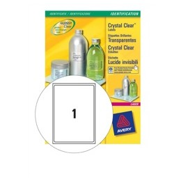 Avery Crystal Clear Labels Laser Durable 1 per Sheet 210x297mmTransparent [25 Labels]