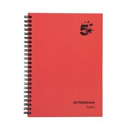 Manuscript Book Wirebound 70GSM Ruled 160 Pages A5 [Pack 5]