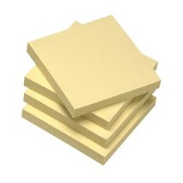 Re-Move Recycled Notes Repositionable Pad of 100 Sheets 75x75mm Yellow [Pack 12]