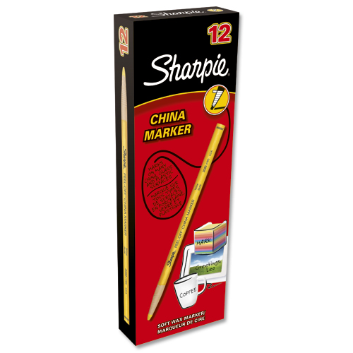 Sharpie China Marker Bullet Yellow [Pack of 12]