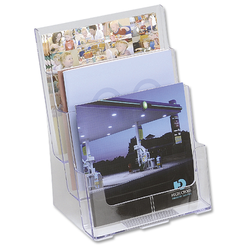 Deflecto Literature Holder A4 3 Tier Clear