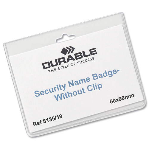 Durable Security Badge No Clip 60x90mm [Pack of 20]