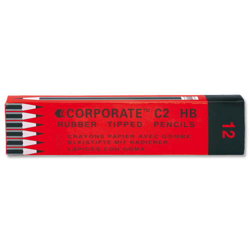 Contract Pencil HB Rubber Tipped [Pack of 12]