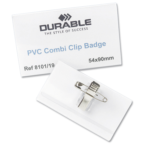Durable Badge 40x75mm Combi Clip Name [Pack of 50]