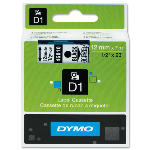 Dymo D1 Labels 12mm Black on Clear