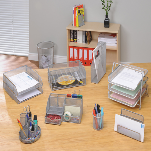 Mesh Letter Tray Scratch Resistant Stackable Side Load Landscape Foolscap Silver [Alternative Picture 4]