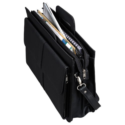Alassio Document Case Multi-section Zipped with Shoulder Strap Leather-look Black