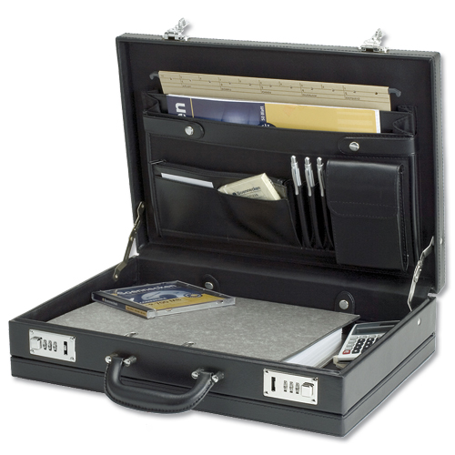 Alassio Ponte Attache Case Multi-section Expandable by 20mm Leather-look Black