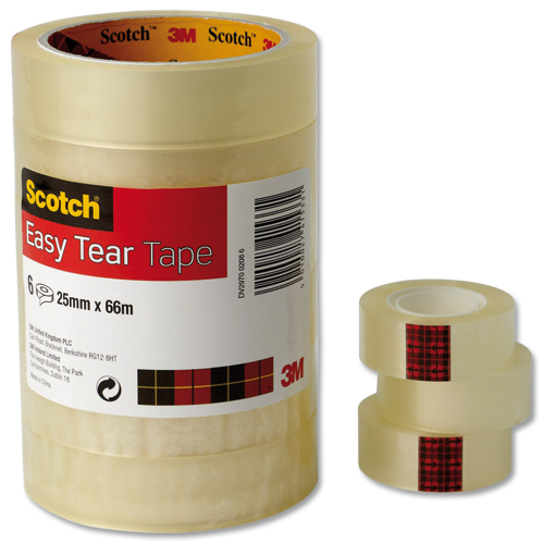 Scotch Easy Tear Clear Tape 25mmx66m [Pack of 6]
