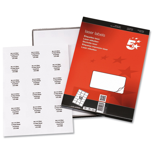 Addressing Labels Laser 18 per Sheet 63.5x46.6mm White [1800 Labels]