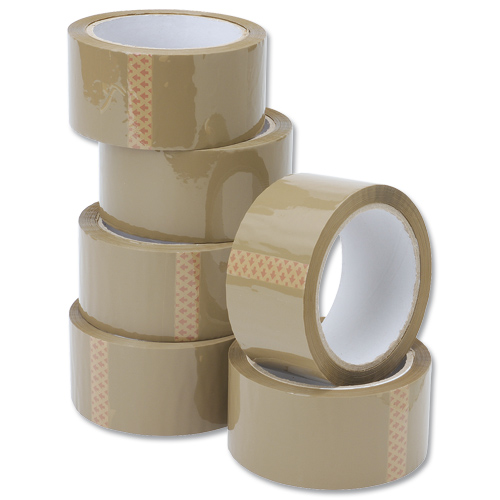 White Box Packaging Tape 50MMX66m Buff [Pack 6]