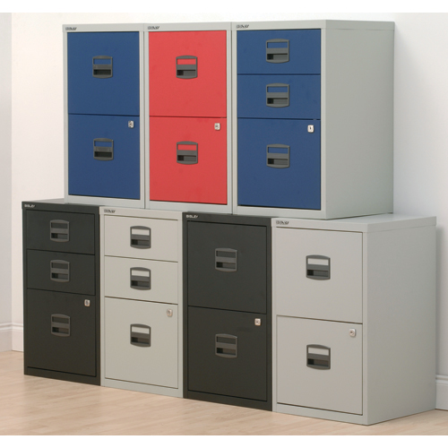 Bisley A4 Homefiler 2 Drawer Grey and Blue [Alternative Picture 2]