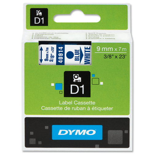 Dymo D1 Labels 9mm Blue on White