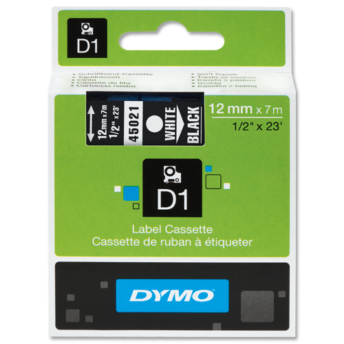 Dymo D1 Labels 12mm White on Black