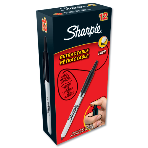 Sharpie Retractable Marker Black [Pack of 12]