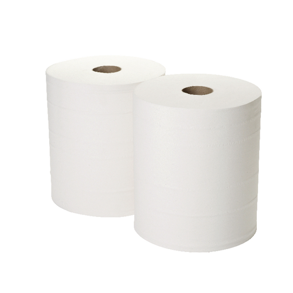 2Work Fourcourt Roll White 360m [Pack of 2]