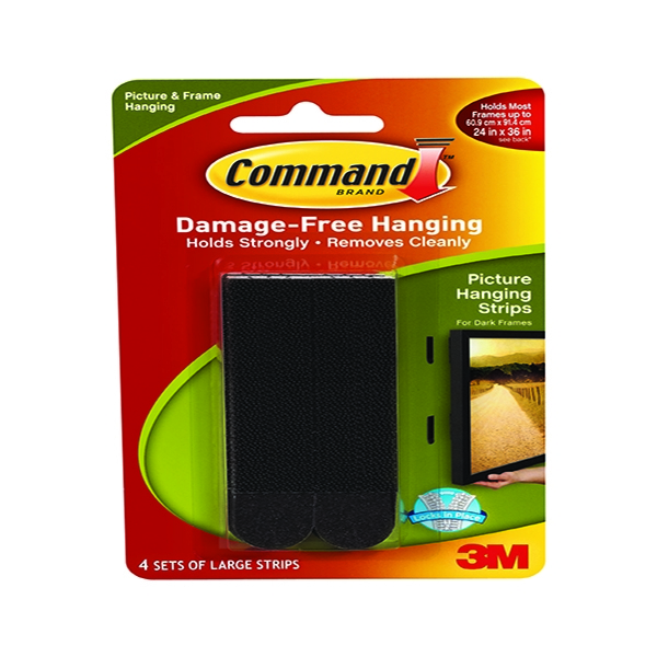 3M Command Large Picture Hanging Strips Black [Pack of 4]
