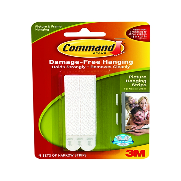 3M Command Narrow Picture Hanging Strips White [Pack of 4]