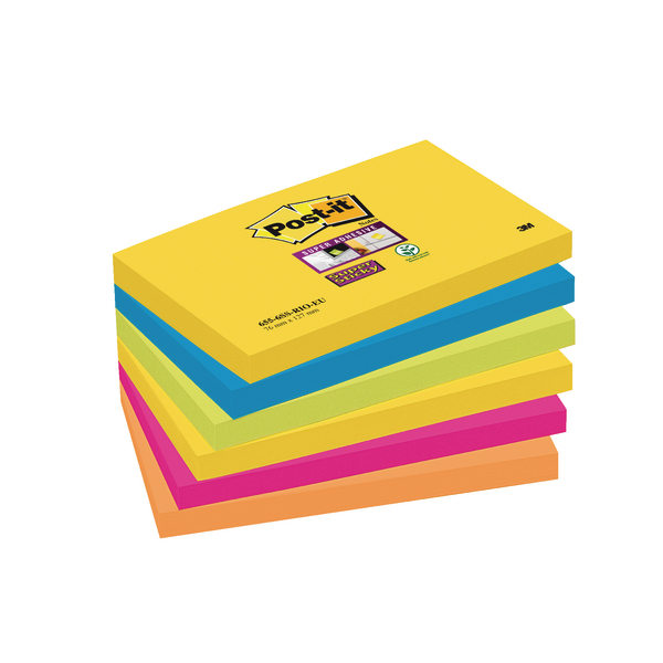Post-it Super Sticky 76x127mm Rio Assorted [Pack of 6]
