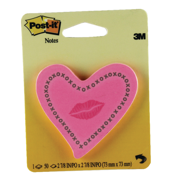 Post-It Notes Heart and Lip Shapes Neon Pink