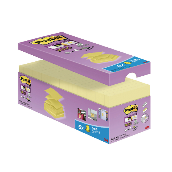 Post-It Super Sticky Z Notes 76x76mm Canary Yellow [Pack of 20]