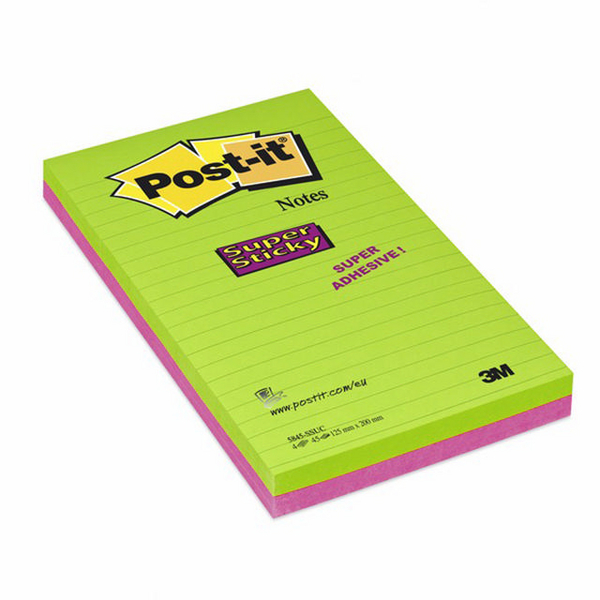 3M Post-It Super Ruled Sticky Notes 124x200mm Pack of 2