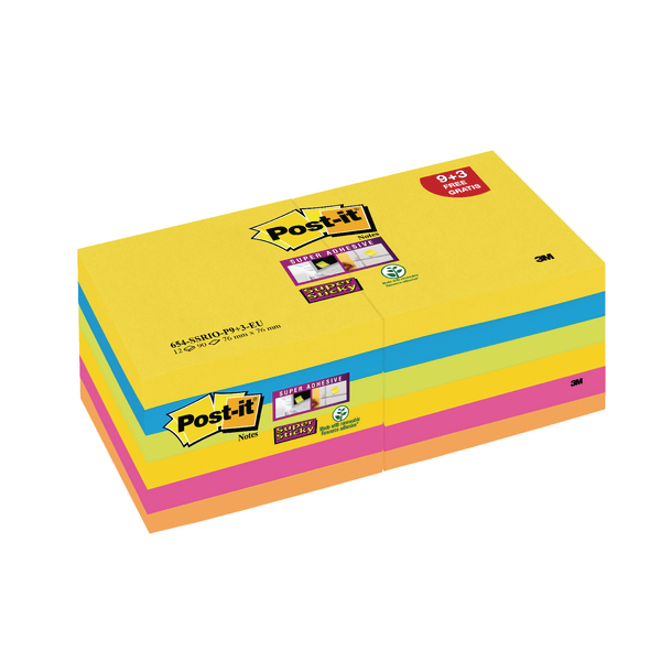 Post-it Super Sticky Z-Notes 76x76mm Rio Collection [Pack of 12]
