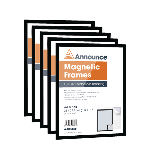 Announce Magnetic Frames A4 Black [Pack of 5]