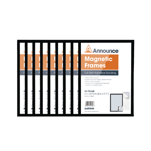 Announce Magnetic Frames A4 Black [Pack of 10]