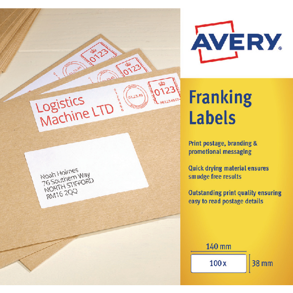 Avery 194x39mm White Franking Label