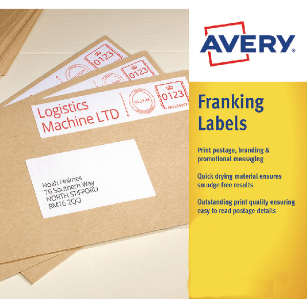 Avery FL07 White Franking Labels 157x39mm [Pack of 500]