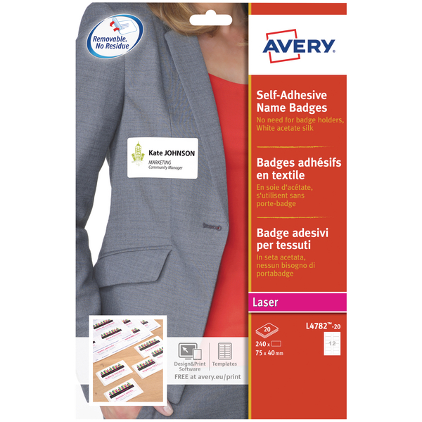 Avery L4782-20 Self Adhesive Name Badge 75x40mm White [Pack of 240]