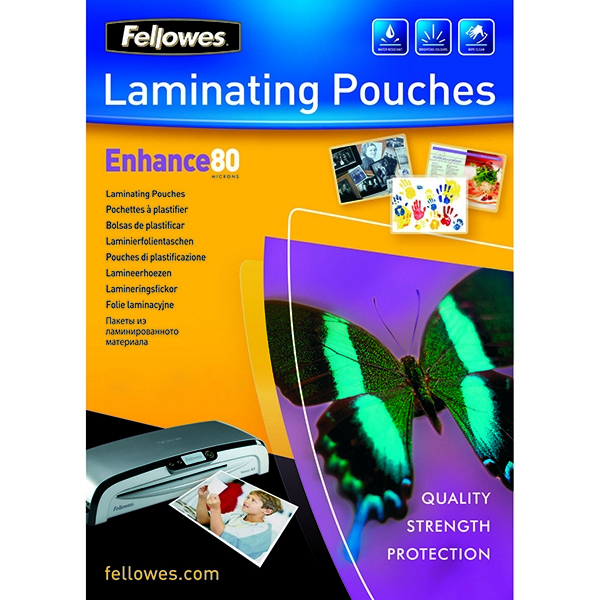 Fellowes A4 80 micron Enhance Laminating Pouches [Pack of 25]
