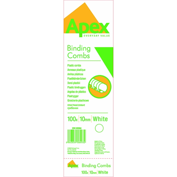 Fellowes Apex Plastic Binding Comb White 10mm [Pack of 100]