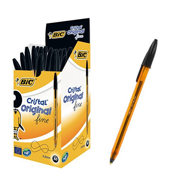 Bic Cristal Fine Black Ballpoint Pen [Pack of 50]