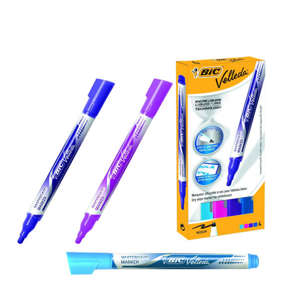 Bic Velleda Fashion Colour Drywipe Markers [Pack of 4]