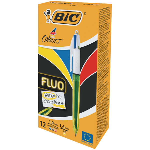 Bic 4 Colours Fluo Ballpoint Pen [Pack of 12]