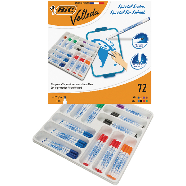 Bic Velleda 1721 Fine Marker Assorted [Pack of 72]