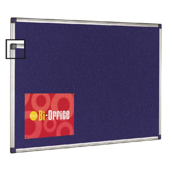 Bi-Office Blue Felt Board 600x900mm Aluminium Frame