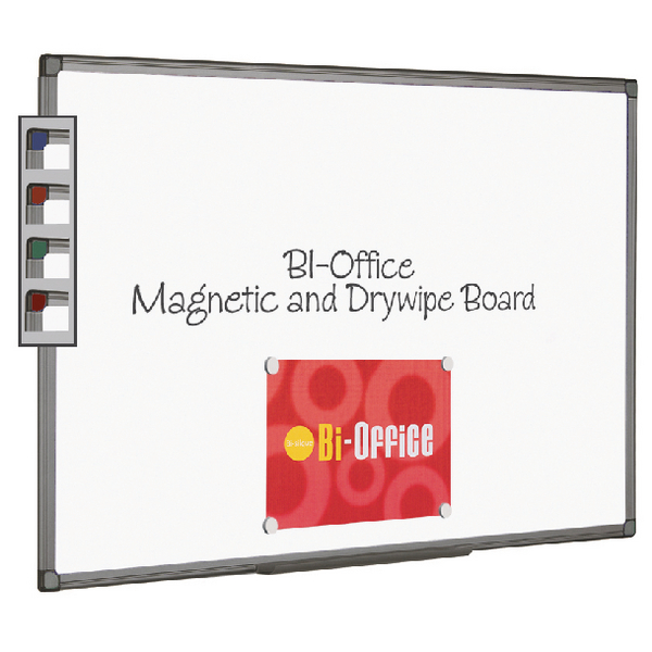 Bi-Office Magnetic Whiteboard 900x600mm Aluminium Fin