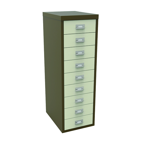 Bisley 9 Drawer Non-Lockable Multidrawer Cabinet Coffee and Cream