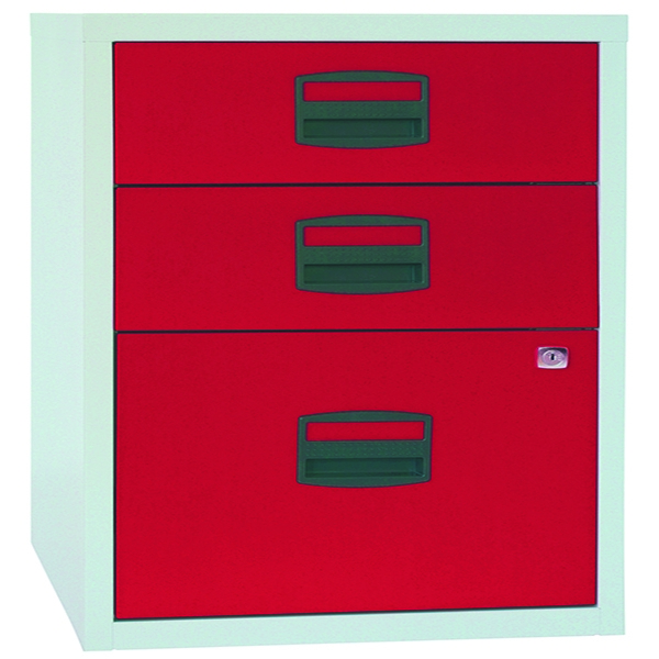 Bisley A4 Homefiler 3 Drawer Grey and Red