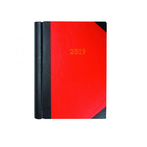 Collins A4 Diary Two Pages per Day Black and Red with Marble Edge 2019