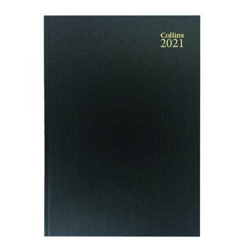 Collins A4 Diary Two Pages per Day Black 2021