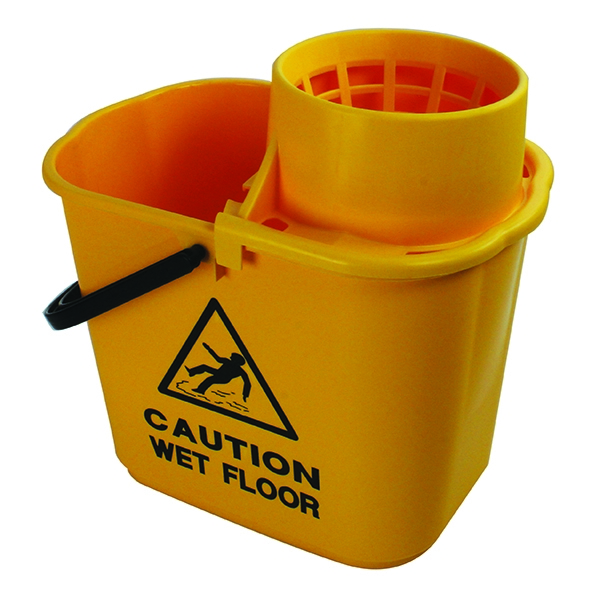 Mop Bucket Wringer 15 Litre Yellow [Alternative Picture 1]