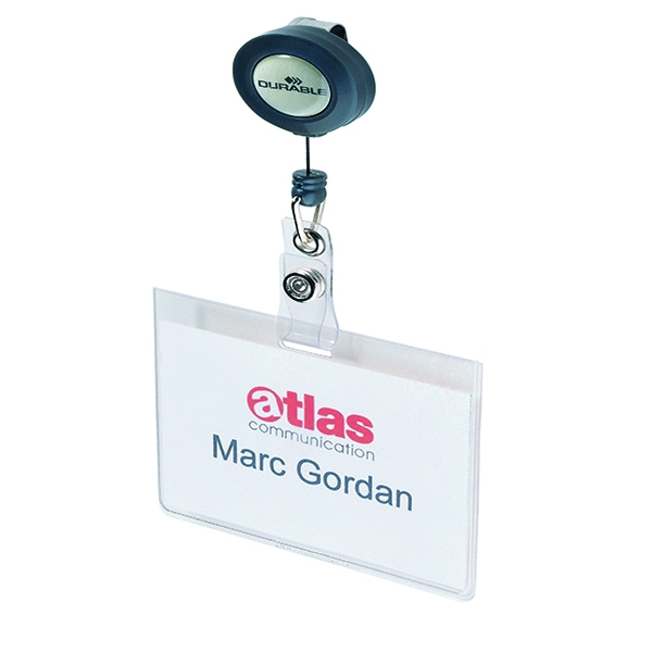 Durable Name Badge With Badge Reel [Pack of 10]